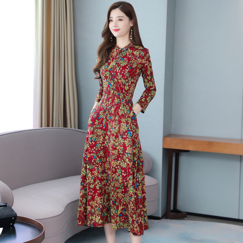 2019 New Vintage Women Long dress Upset High-end Wealthy Woman Western Style Elegant Noble Lady Dresses Red Blue <font><b>1833</b></font> image