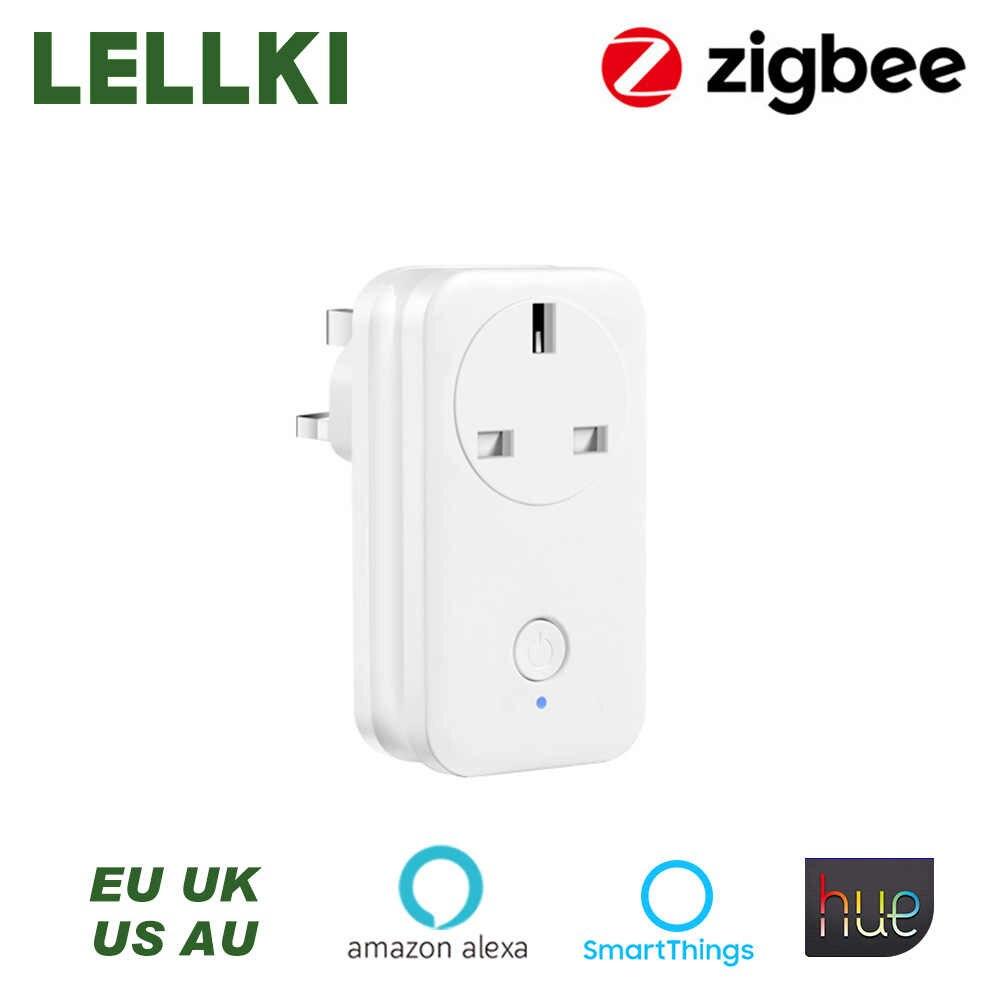 Lellki Zigbee Socket Uk White Wireless Control Smart Switch Timer Plug 13a For Zigbee Hue Hub Smartthings Echo Plus Controller Aliexpress