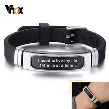 Vnox-Pulseras personalizadas para hombres y mujeres, brazalete de acero inoxidable acanalado con banda de silicona ajustable, regalo clásico informal, 12mm