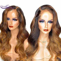 Dream Beauty Brazilian Remy Hair 13*6 Deep Part Lace Front Wig body wave highlights Color Pre Plucked human hair wigs