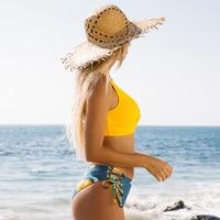 Bikini de cintura media con estampado de limón y amarillo para mujer, traje de baño Sexy de dos piezas con cordones 9