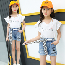 Cheap Summer Children Girls Clothes Ruffle Sleeve White T-shirt Two Piece Outfits Short Denim Pants Clothing Sets For