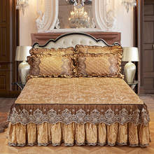 Luxury Europe Princess Bedding Bed Skirt Set Pillowcases Velvet Thick Warm Lace Bed Sheets 1/3pcs Mattress Cover King Queen Size