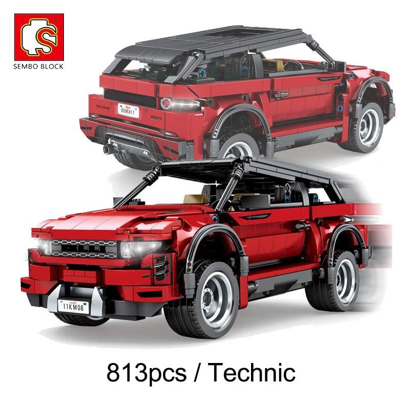 Sembo 813 pçs técnica suv carro orv vermelho esportes veículo blocos de construção de corrida carro tijolos conjunto crianças brinquedos meninos presentes