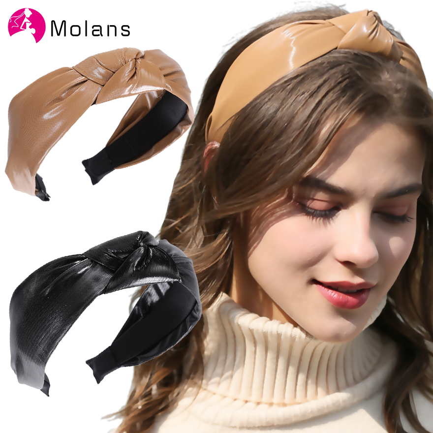 Molans 2020 Mustard PU Twist Knot Headbands Solid Faux Leather Top Knotted Hairbands For Women Wide Hair Hoops Leather Headbands