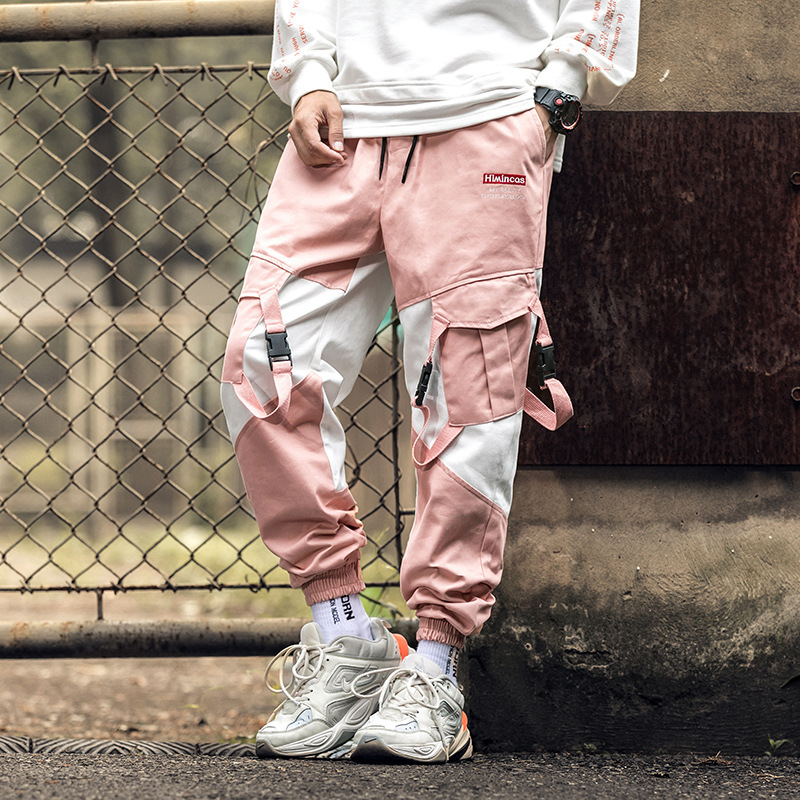 Supply Of Goods 2019 Autumn Contrast Color Ribbon Printed Hip Hop Cargo Trousers Men's