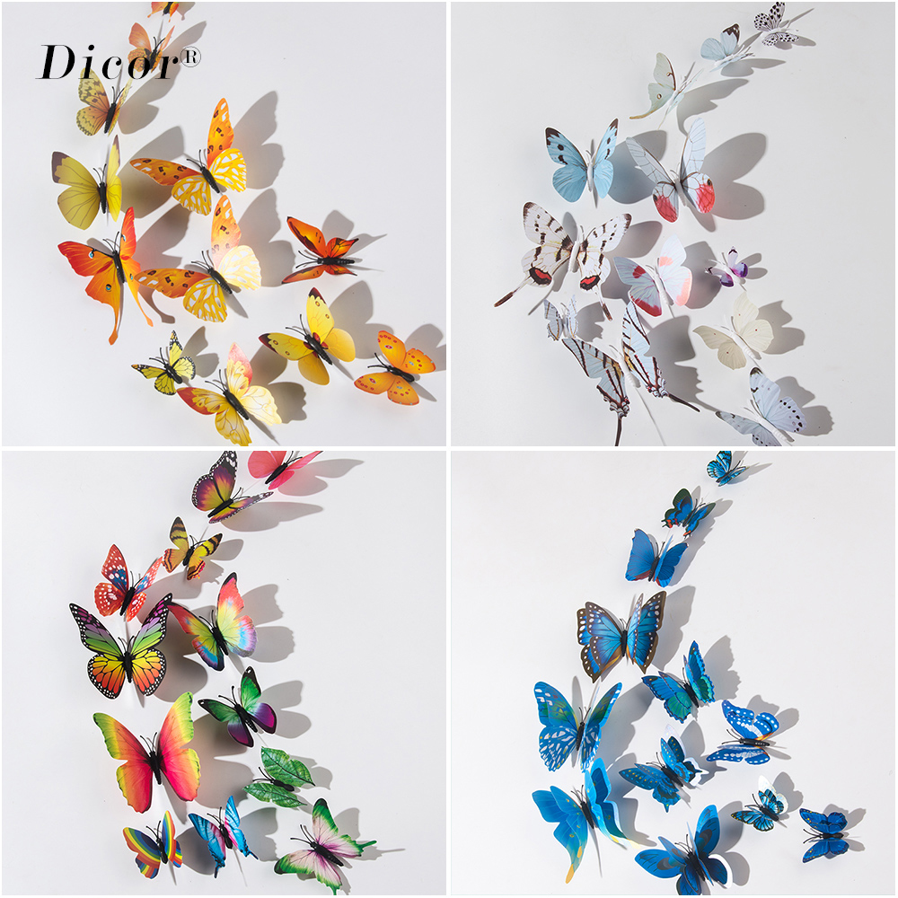 DICOR 12pcs DIY Simulation Star 3D Butterfly Art Wall Sticker Home Decor Living Room Bedroom Kids Rooms Girls Decals Party Gifts