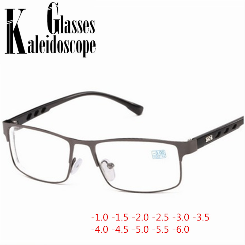 Students-1.0 -1.5 -2 -2.5 -3 -3.5 To -6.0 Square Finished Myopia Glasses Women Men Metal Frame Short Sight Eyewear For Unisex