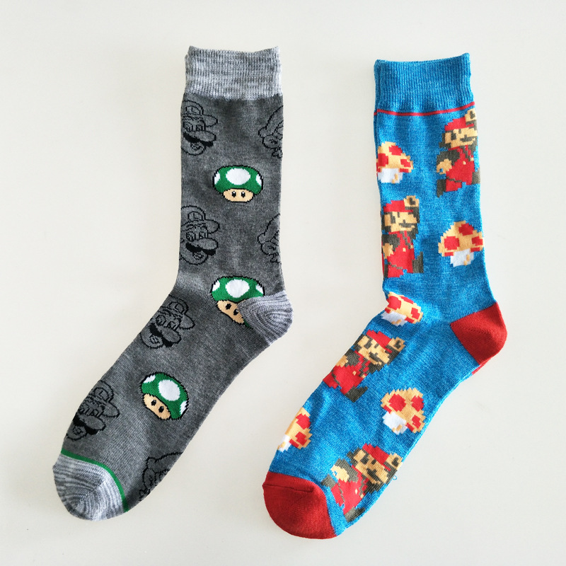 Game Super Mario Bros Print Men Socks Mushroom Luigi Goomba Cute Fun Cartoon Cotton Sock Sporting Casual Breathable Absorb Sweat