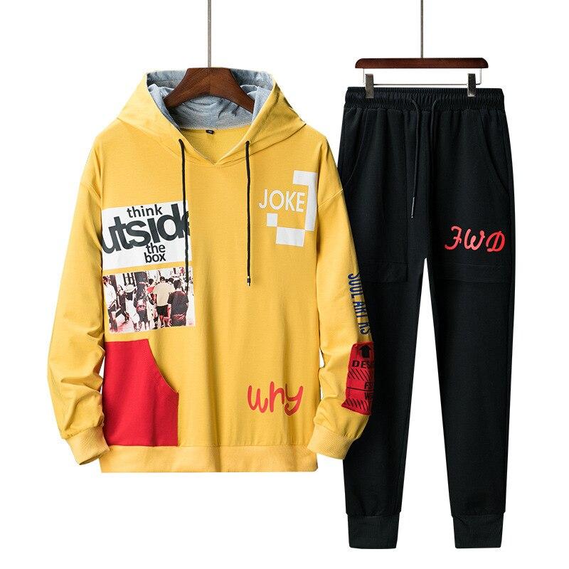 Tracksuit Set Mens Pullover Hooded Sweatshirts+Pants Sport Suit Two Piece Set Male Hip Hop Streetwear Sweatsuit For Men Clothing