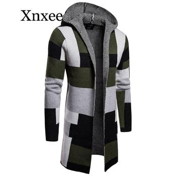 gray Men x-long sweater coat Hooded stripe color matching Jackets long style cardigan Outerwear male Button top