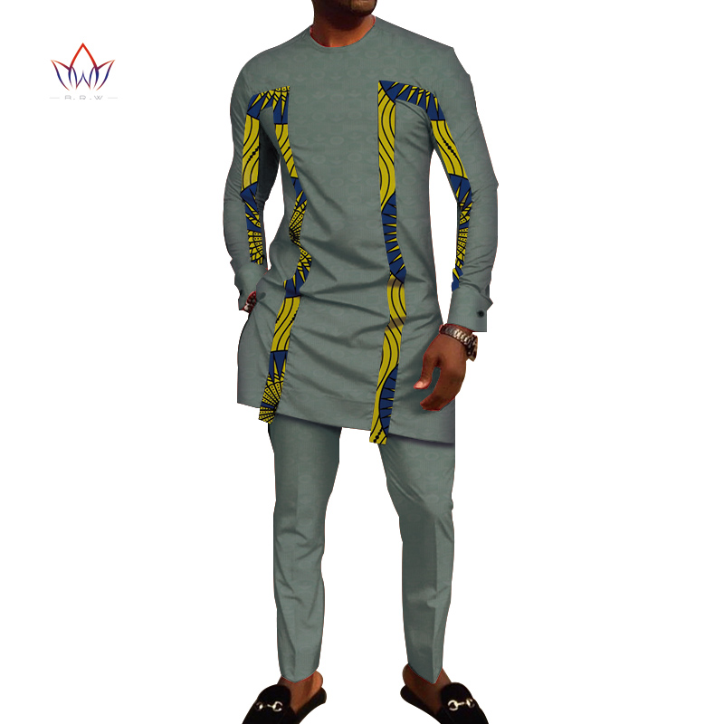 Bazin Riche Men 2 Pieces Pants Sets African Design Clothing African Clothes Casual Men Jacquard Top Shirts And Pants Sets WYN710