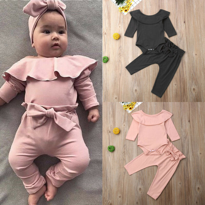 Autumn Spring 2Pcs Toddler Kids Baby Girl Ruffle Bodysuit Romper Top Solid Bowknot Pants Trousers Long Sleeve Outfit Clothes Set