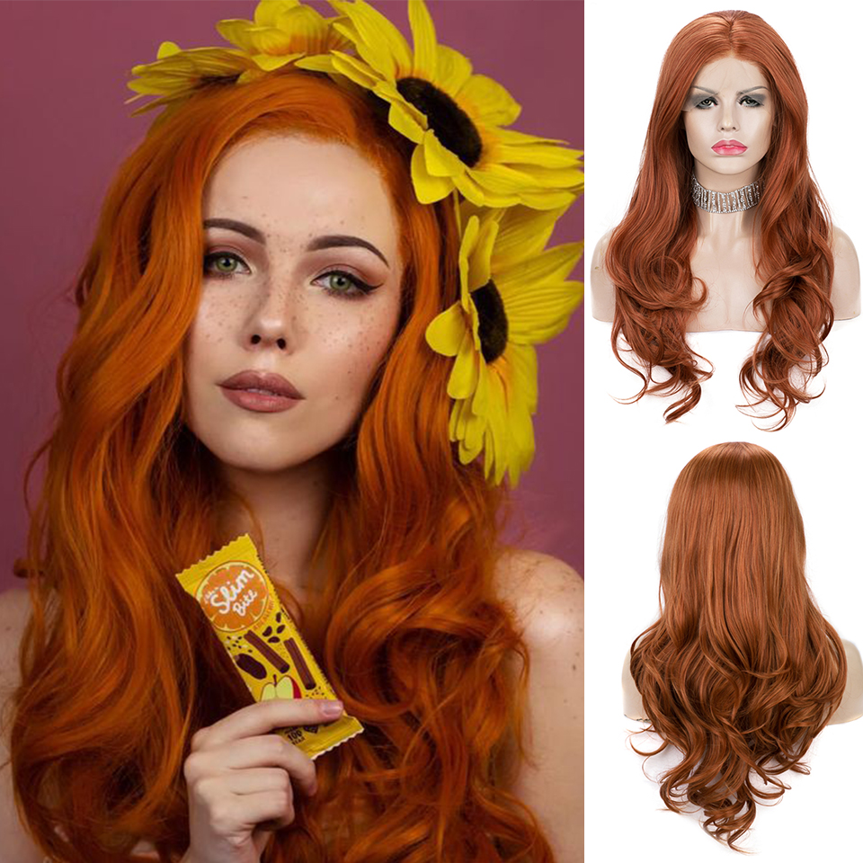 Pinkshow Orange Wig Synthetic Lace Front Wig For Women Natural Wavy Wigs Middle Part Heat Resistant Fiber