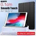 ESR Fall für iPad Air 1 Air 2 9 7 2018 Gummi Öl Abdeckung Weichen PU leder Ultra Slim Schwarz Blau rosa Smart Fall für iPad 9 7 2017|Tablets & E-Book-Hülle|Computer und Büro -