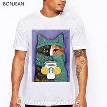 Funny coffee cat print tshirt men korean streetwear men's t-shirts cute cartoon animal oversized white t shirt camiseta