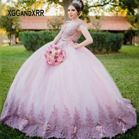New Arrival Pink Quinceanera Dresses 2020 V Neck Backless Lace Applique Illusion Puffy Skirt Long Sweet 15 16 Dress Birthday