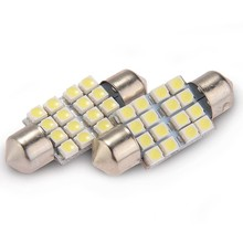 1 Pair Auto Lampu Torpedo 16 SMD LED Putih 12V 36MM(China)