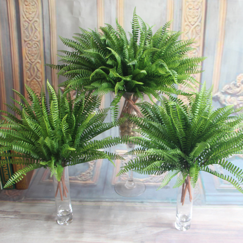 Large Artificial Boston Fern Fake Flowers Plant Bush 21 Leaf Leave Foliage Home Garden title=