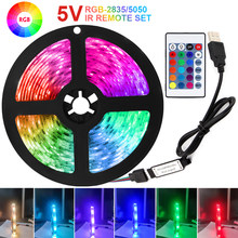 5V RGB Tira luzes LED RGB USB SMD5050 2835 Controle IR 1M 2M 3M 4M 5M Fita Flexível Fita Diodo Luminoso Decoração Luces Levou