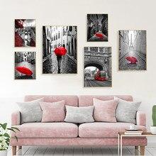 Toile de paysage noir et blanc, décor de maison, style nordique, peinture rouge, Vintage, Europe, affiche de paysage imprimée pour dortoir