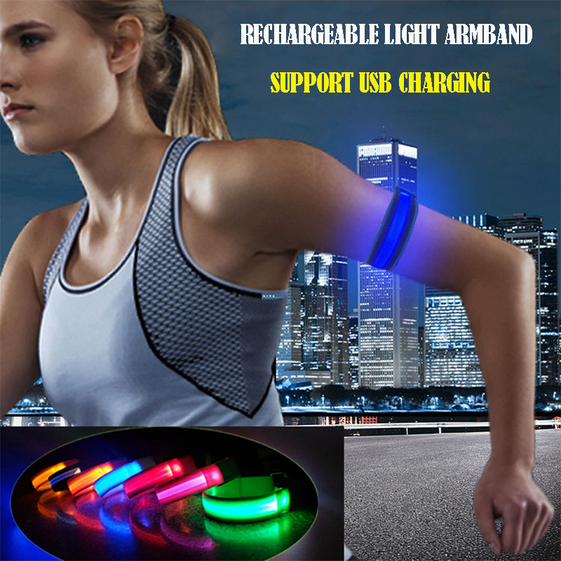 1PCS Running Light Sport USB LED Wristbands Adjustable Glowing Bracelets For Runners Joggers Cyclists Riding Safety Bike Bicycle