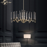 Luxury Crystal Chandeliers Lighting Modern Nordic Tree Branch LED Iron Lamp for Living Room Bedroom Dining Room Villa Kitchen