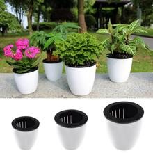 купить Self-watering Plant Flower Pot Imitation Pottery Automatic Water Absorption Planting Black And White Flower Pots дешево