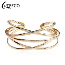 CUTEECO Fashion Cross Cuff Women Individual openwork retro bracelet Color Bangles Girls Bracelets & Female Jewelry
