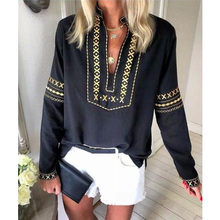 Casual Ethnic Women Vintage Tops Blouses V-Neck long Sleeve Loose Style StreetWear Fashion Shirt