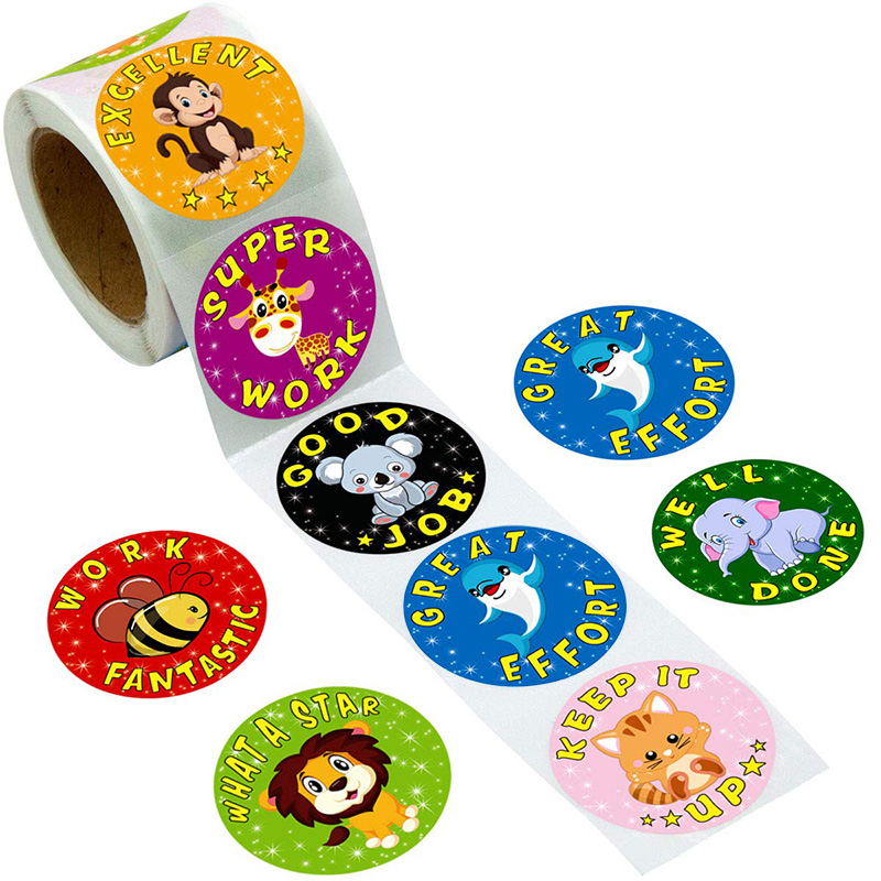 500 Pcs/pack Cartoon Aniamls Sticker Teacher Reward Stickers School Student Encouragement Words For Kids Toy Sticker