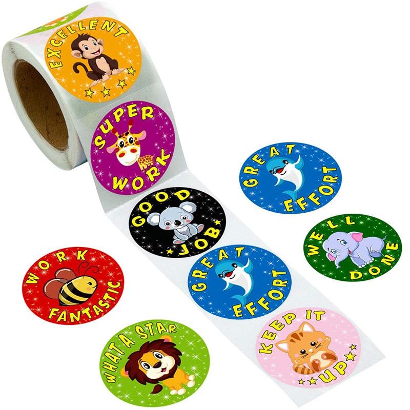 500 Pcs/pack Cartoon Aniamls Sticker Teacher Reward Stickers School Student Encouragement Words For Kids Toy Sticker