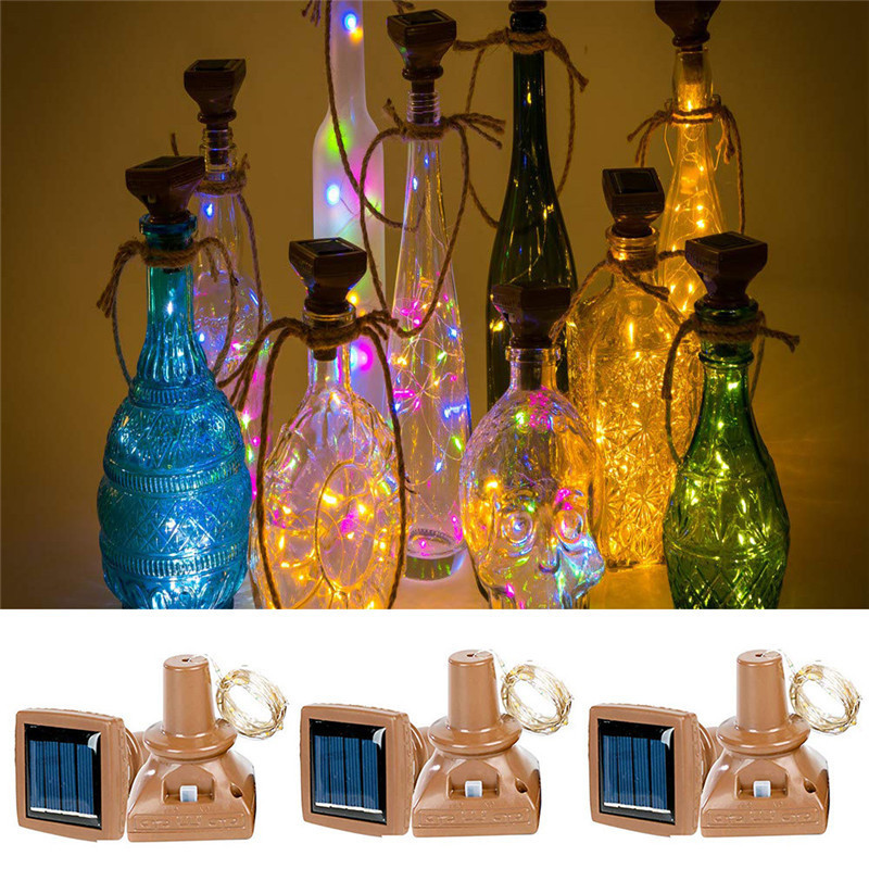 1M 2M Wine Bottle Cork Copper Wire Fairy Lights 10 LED 20 LED Solar Powered Garland String Light Christmas Decorations For Home