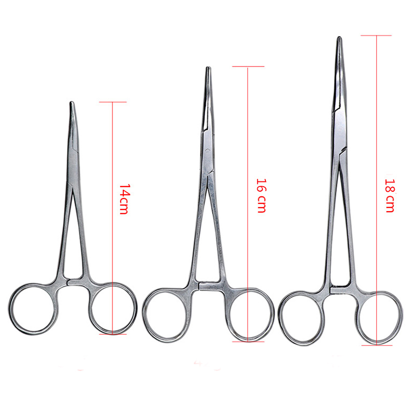 1pc Stainless Steel Hemostatic Clamp Forceps Surgical Forceps Tool  Hemostatic Forceps Pliers Straight/Elbow Tips Needle Holder