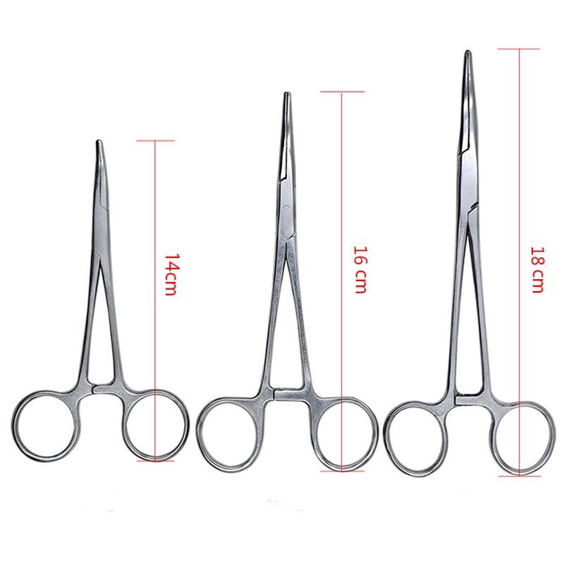 1pc Stainless Steel Hemostatic Clamp Forceps Surgical Forceps Tool Hemostatic Forceps Pliers Straight/Elbow Tips Needle Holder
