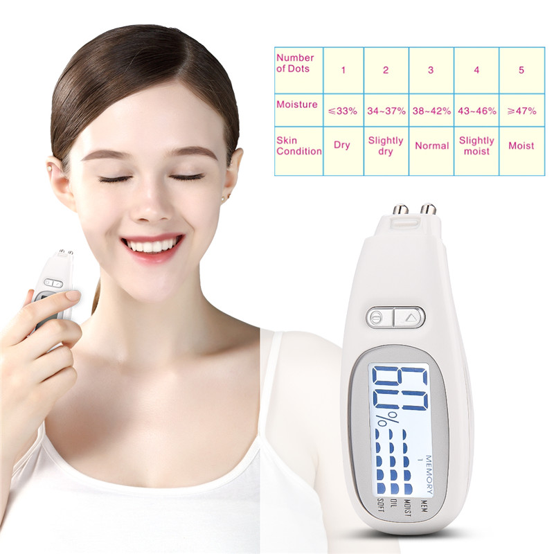 Portable 3 In 1 LCD Backlight Digital Skin Analyzer Monitoring Moisture Oil Content Skin Tester Precision Softness Detection