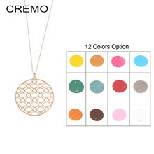 Cremo Women Long Winter Sweater Chain Necklace Colorful Reversible Leather Round Pendant Necklaces Charm