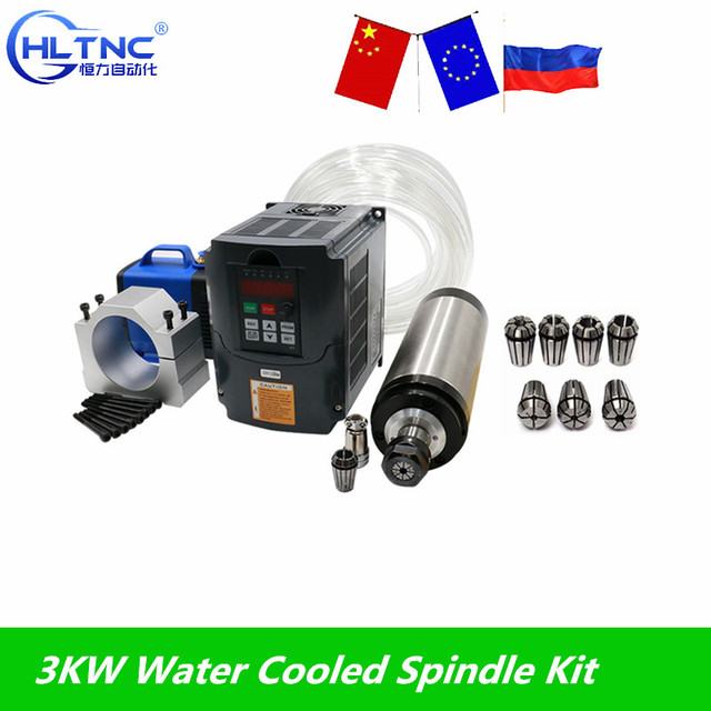 Water Cooled Spindle Kit 3KW CNC Milling Spindle Motor + 3KW VFD + 100mm clamp + water pump/pipe +13pcs ER20 for CNC Router