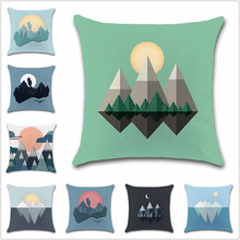 Sun Mountain Minimal Art simple color pattern Cushion Cover Decoration chair Home sofa seat friend kids bedroom gift pillowcase