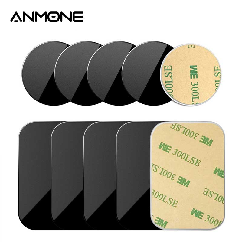 ANMONE 5pcs/1pc Car Phone Holder Metal Plate Disk Iron Sheet Sticker 0.3mm Thin For IPhone Huawei Holder Magnet Car Stand Mount