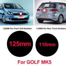 2 pces 125mm 110mm abs carro frente grill emblema tronco traseiro boot emblema logotipo para golfe mk5 gloss preto/fosco/fibra de carbono