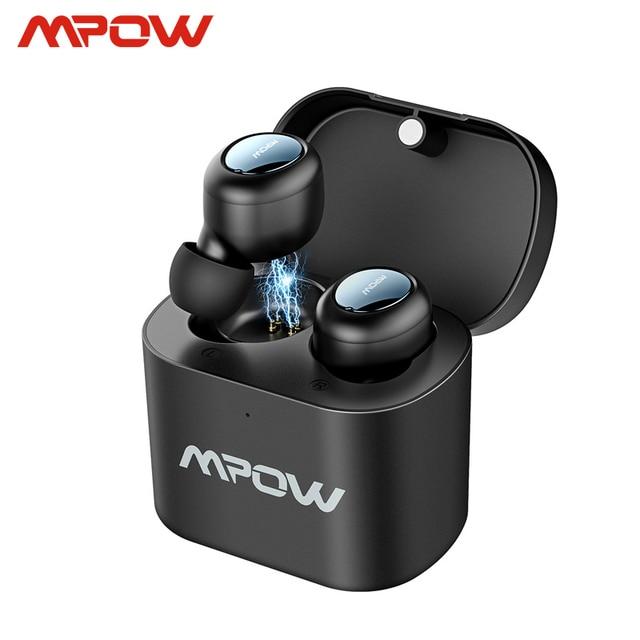 Mpow T2 سماعة بلوتوث لاسلكية 5.0 في الأذن ستيريو TWS سماعات صغيرة محمولة سماعات مع المدمج في هيئة التصنيع العسكري آيفون أندرويد