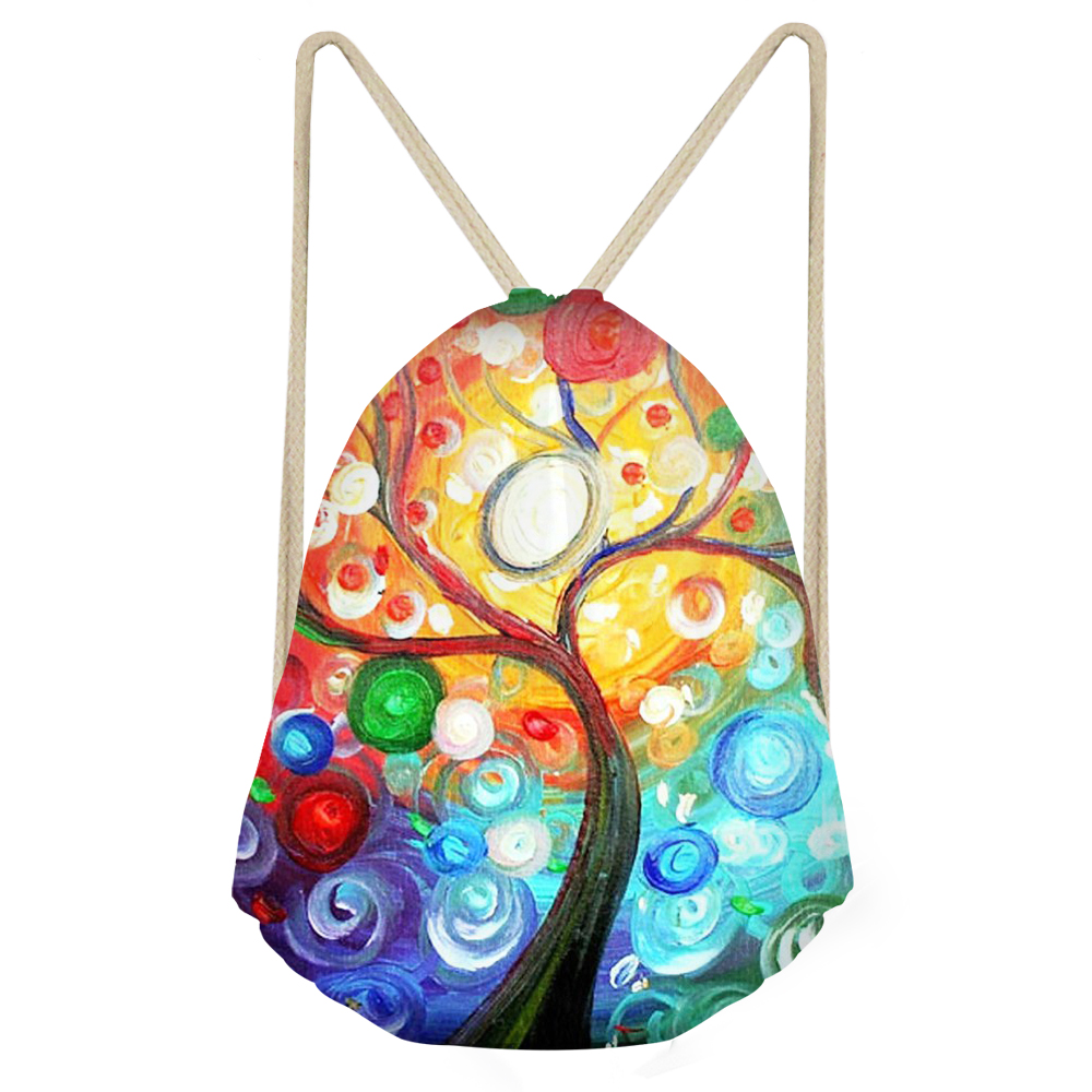 Oil Painting Tree 3D Printed Backpack Drawstring Bags Animal Pattern Cute Backpacks For Women Girls Draw String Bag Colorful