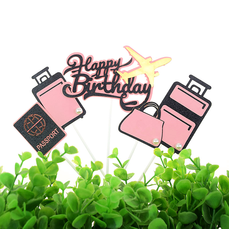 Happy Birthday Cake Toppers Airplane Topper Kids Girls Bag Luggage Pink Blue Cake Flags Wedding Bride Party Baking DIY Decor-2