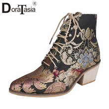 цены DORATASIA New Autumn Drop Ship 35-43 Brand Embroider Booties Ladies High Heels Ankle Boots Women 2019 Fashion OL Shoes Woman