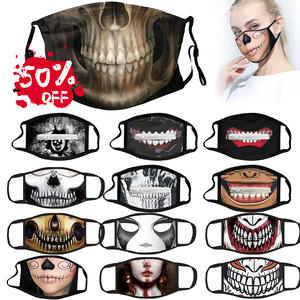 Printed Mask Face Skull-Pattern Small Cover Mascarillas Protection Fabric Washable Adult