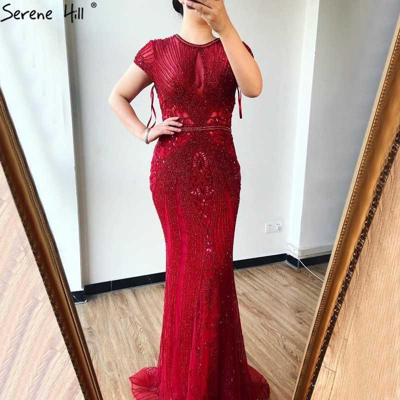 Dalam Saham 2020 Mewah Cap Lengan Berlian O-Leher Putri Duyung Gaun Malam Desain Beading Evening Gaun Plus Ukuran LA60742