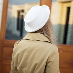Image 5 - GEMVIE klasyczne 100% wełna miękki Pork Pie kapelusz Fedora dla mężczyzn kobiety jesień zimowa wełniana czapka zakrzywione rondo