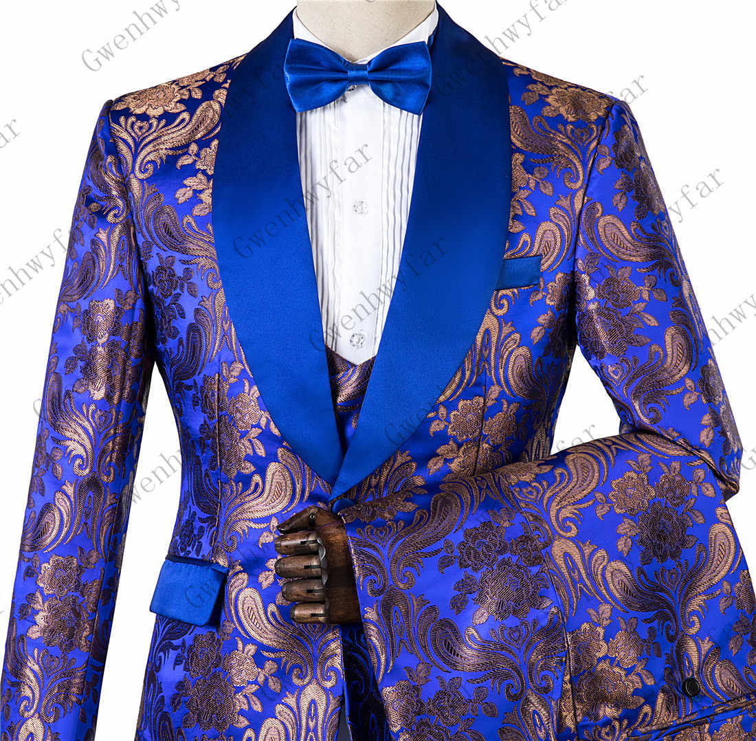 Royal Blue Slim Fit Custom Made Mens Suits 2019 Wedding Suits for Groom Tuxedos Three Pieces Groomsmen Suits Regular Big Sizes