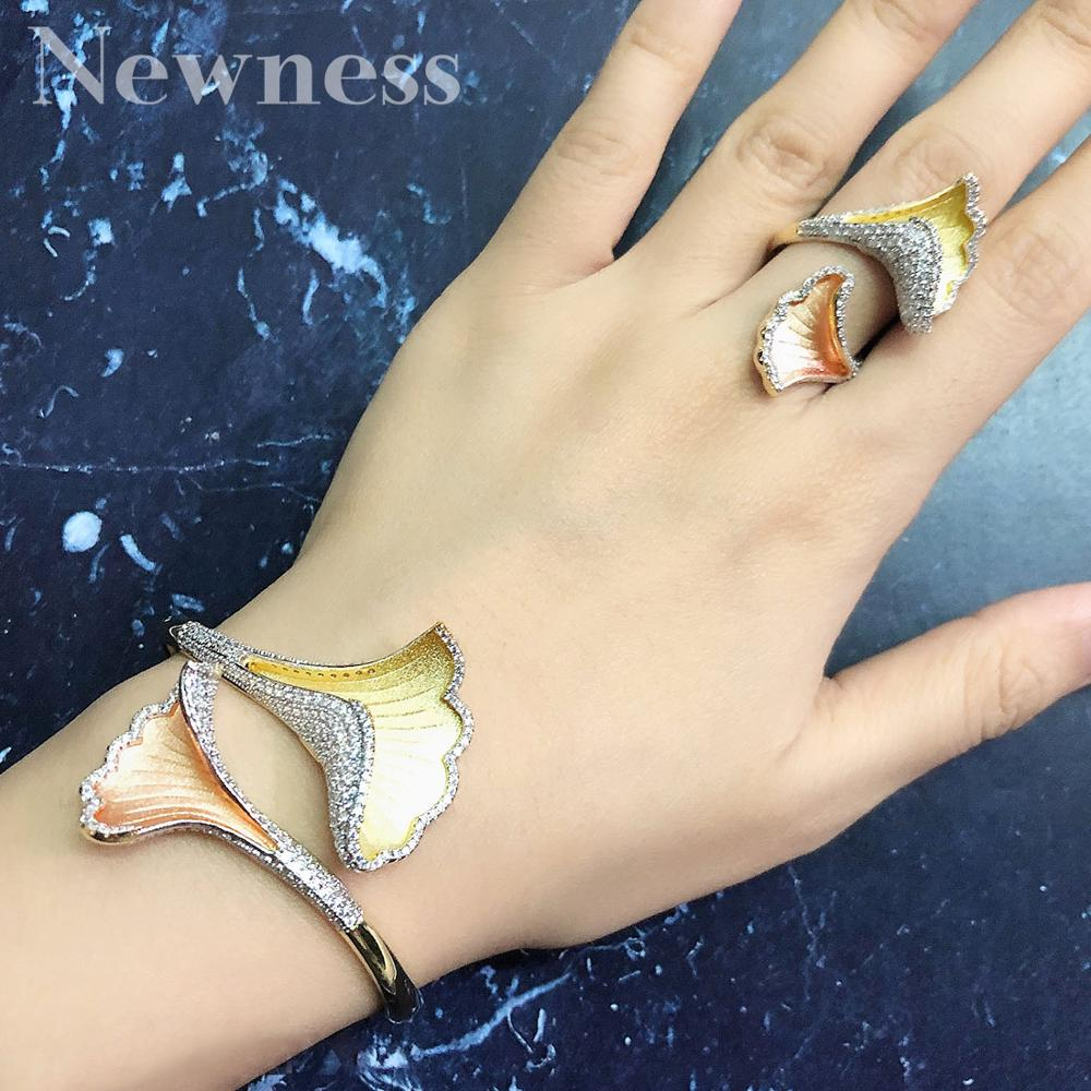 Newness Delicate Luxury Leaf Flower Copper Bangle And Ring Set for Women High Quality Wedding Engagement Bridal Party
